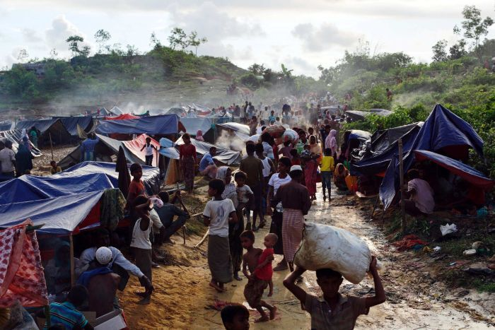 Rohingya refugee camp in southern Bangladesh, August 2017. Image courtesy of Australian Broadcast Corporation